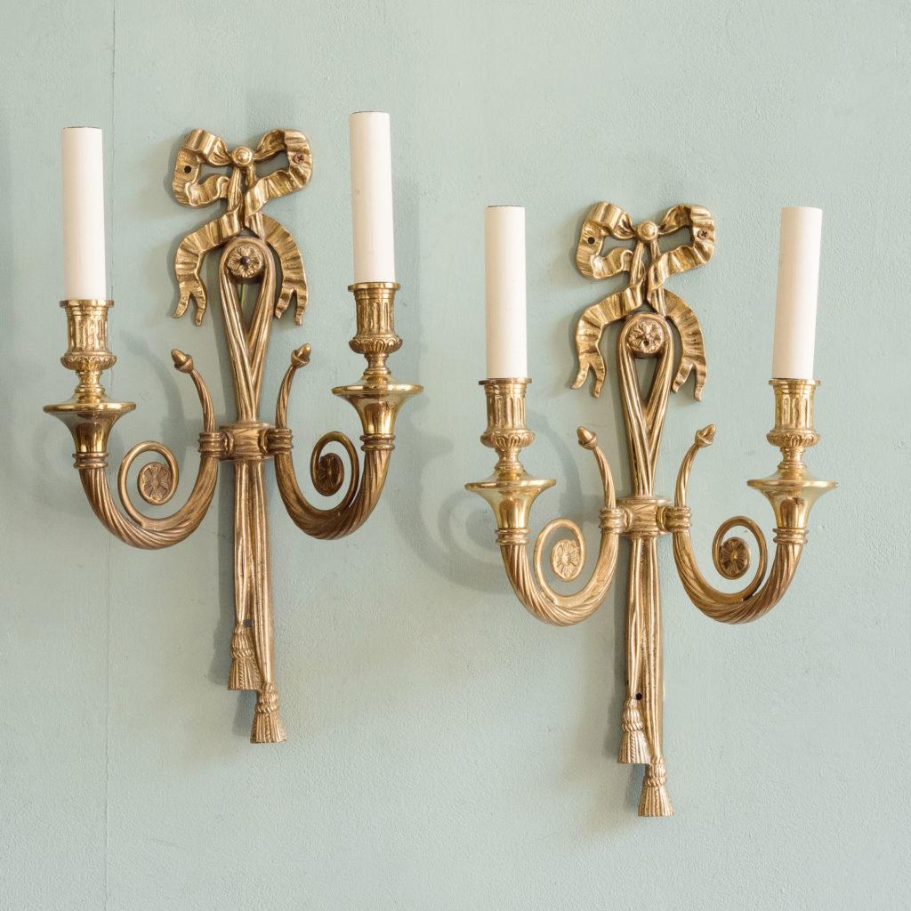 Louis XVI style brass wall lights