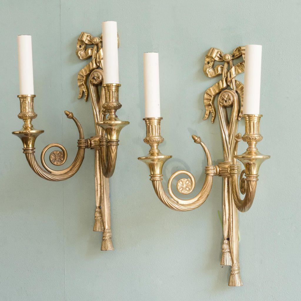Louis XVI style brass wall lights,-101422