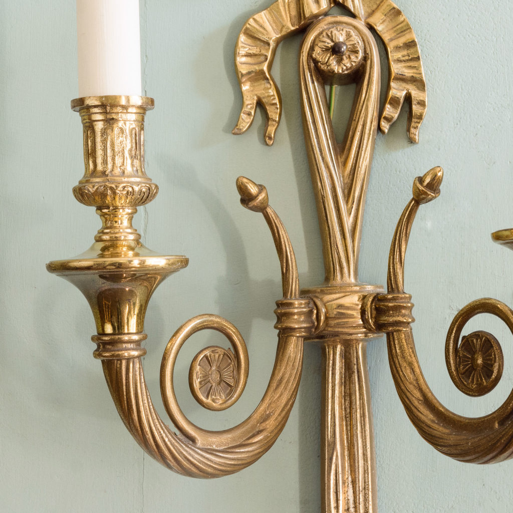 Louis XVI style brass wall lights,-101428