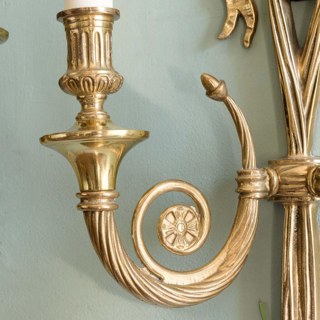 Louis XVI style brass wall lights,-101425