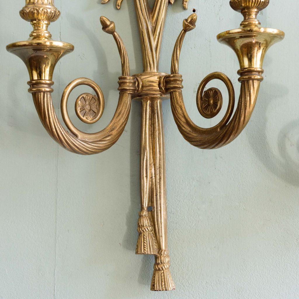 Louis XVI style brass wall lights,-101423