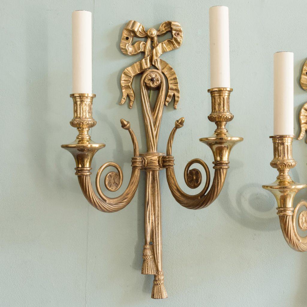 Louis XVI style brass wall lights,-101426