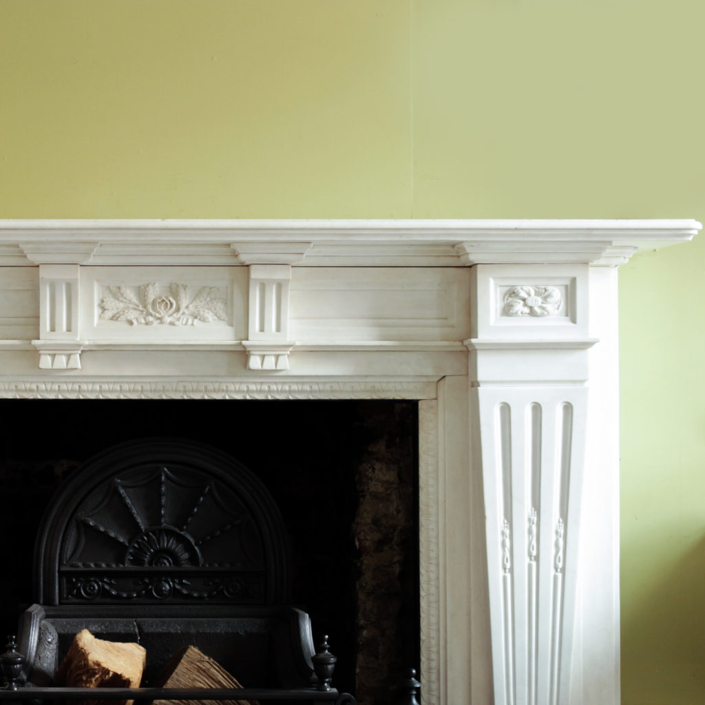 Large late-nineteenth century statuary marble chimneypiece,-102747