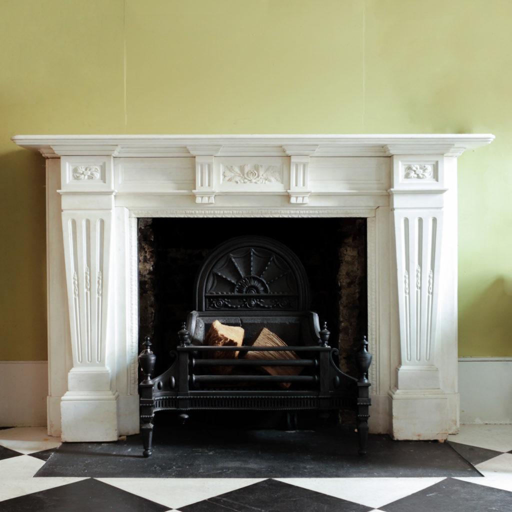 Large late-nineteenth century statuary marble chimneypiece,-0
