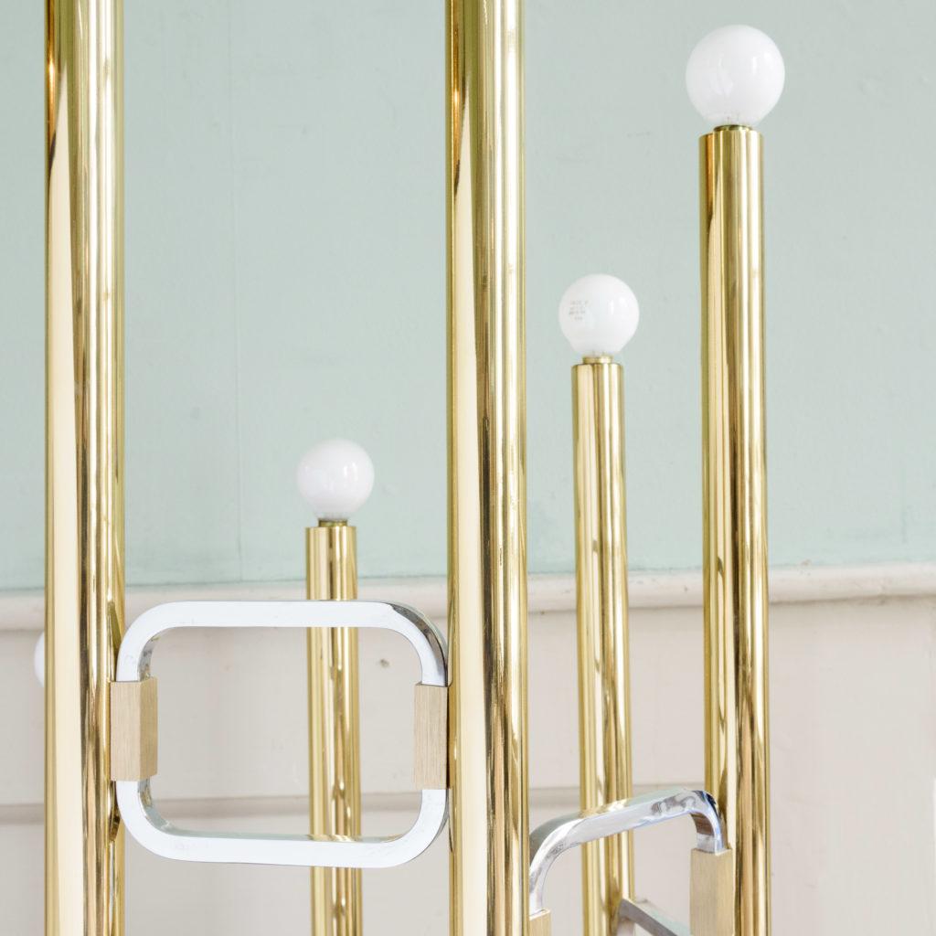Graduated tubular brass and chrome floor lamp,-102444