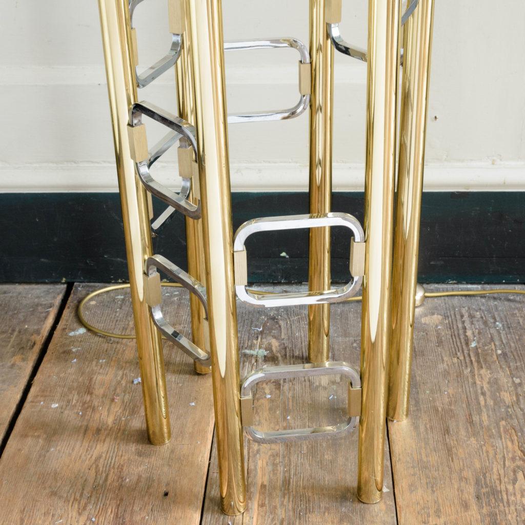 Graduated tubular brass and chrome floor lamp,-102446
