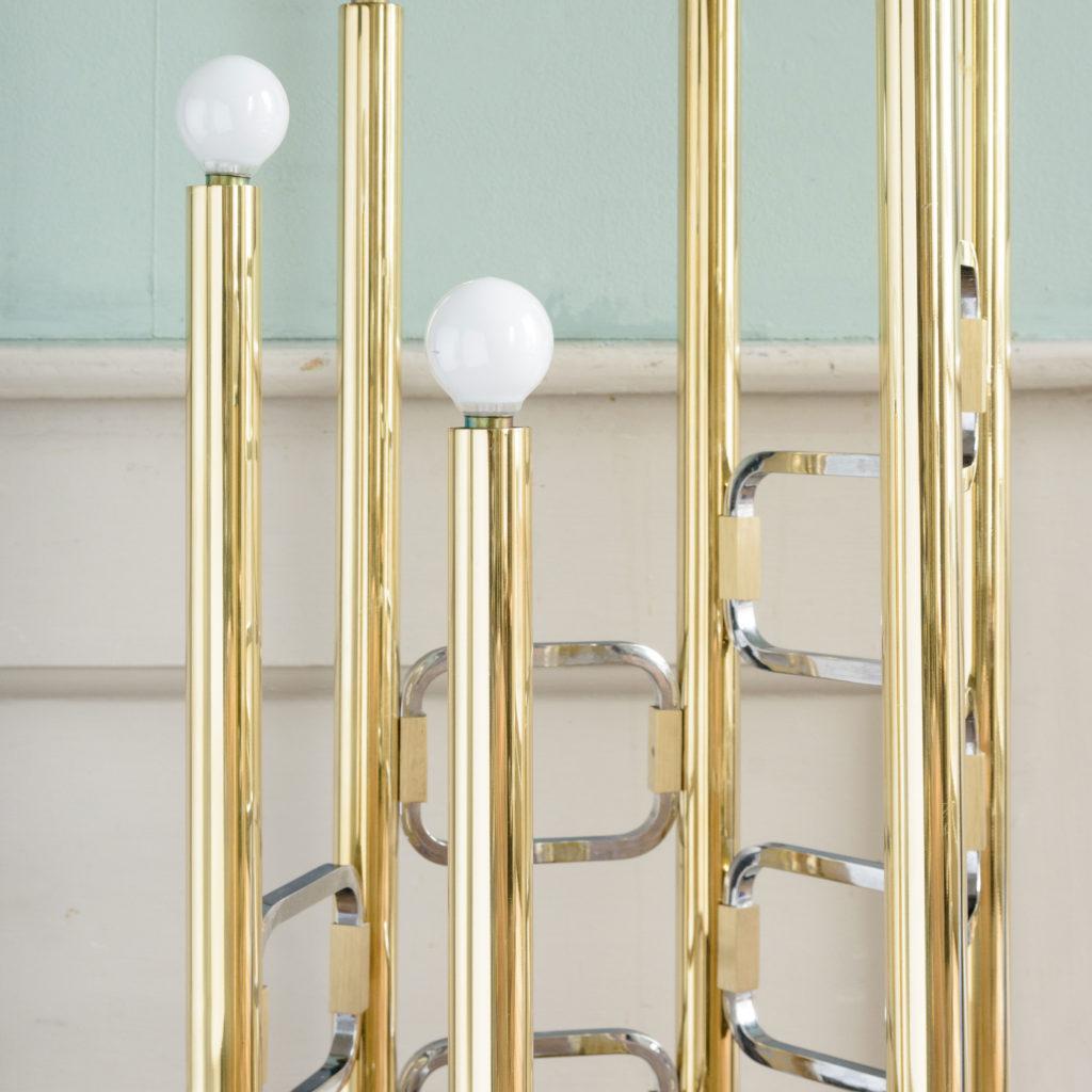 Graduated tubular brass and chrome floor lamp,-102443