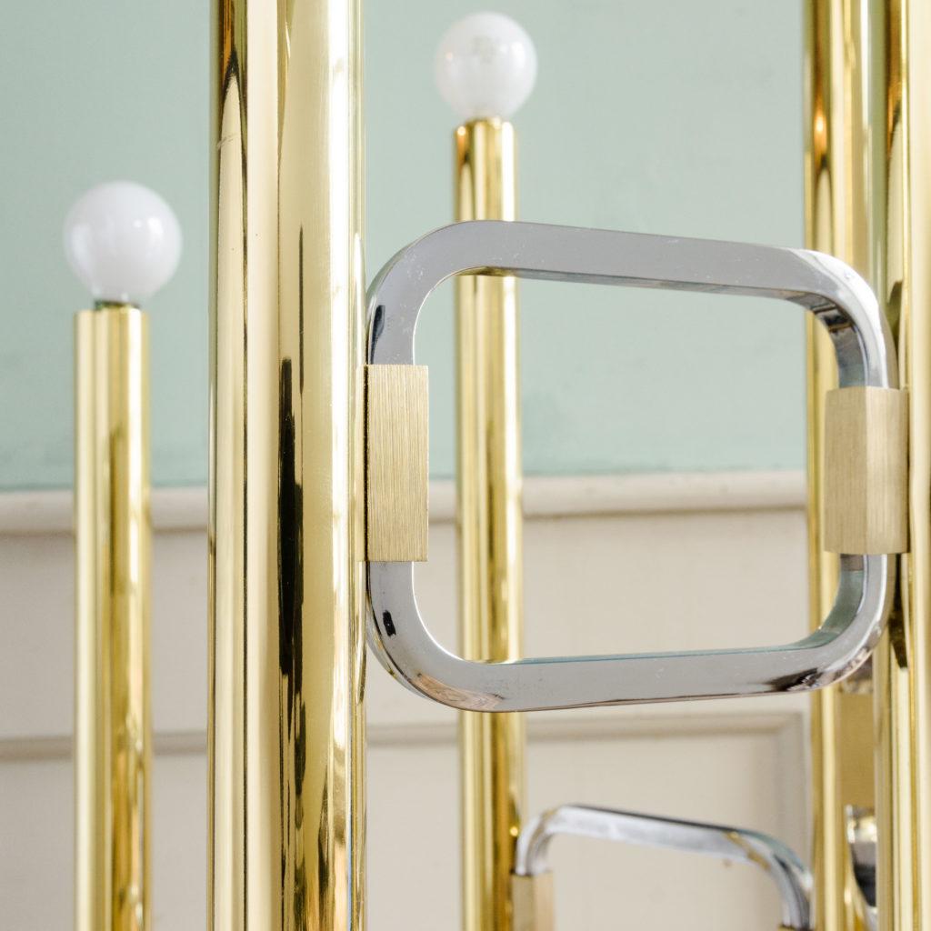 Graduated tubular brass and chrome floor lamp,-102447