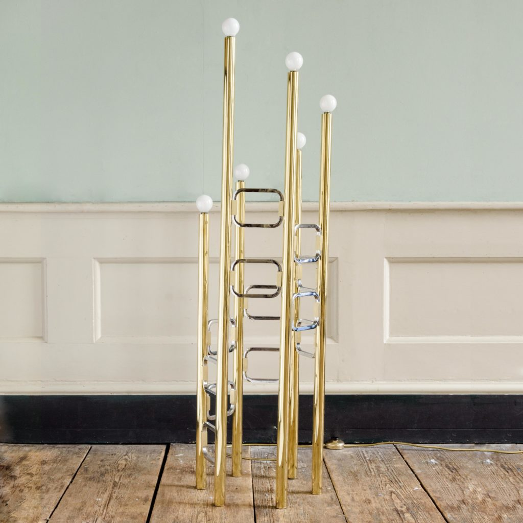 Graduated tubular brass and chrome floor lamp,-102445