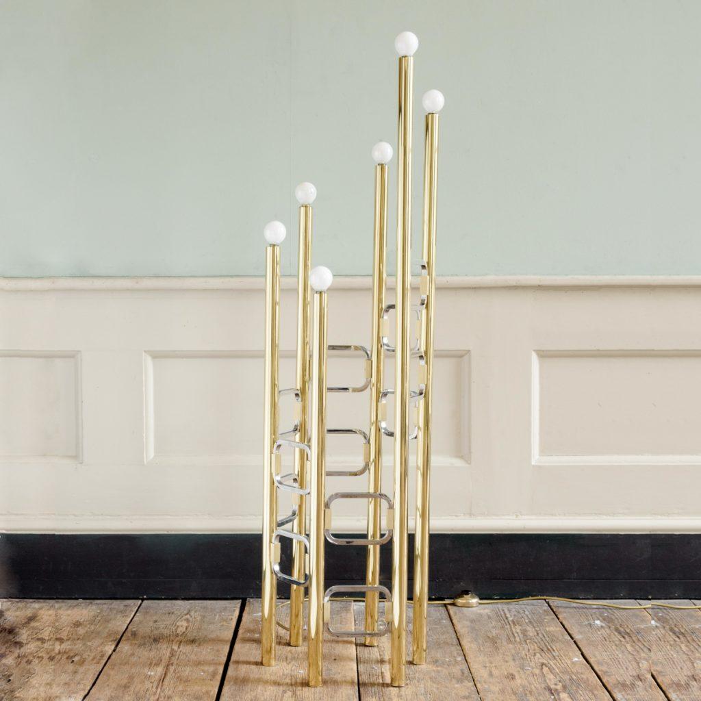 Graduated tubular brass and chrome floor lamp,-0