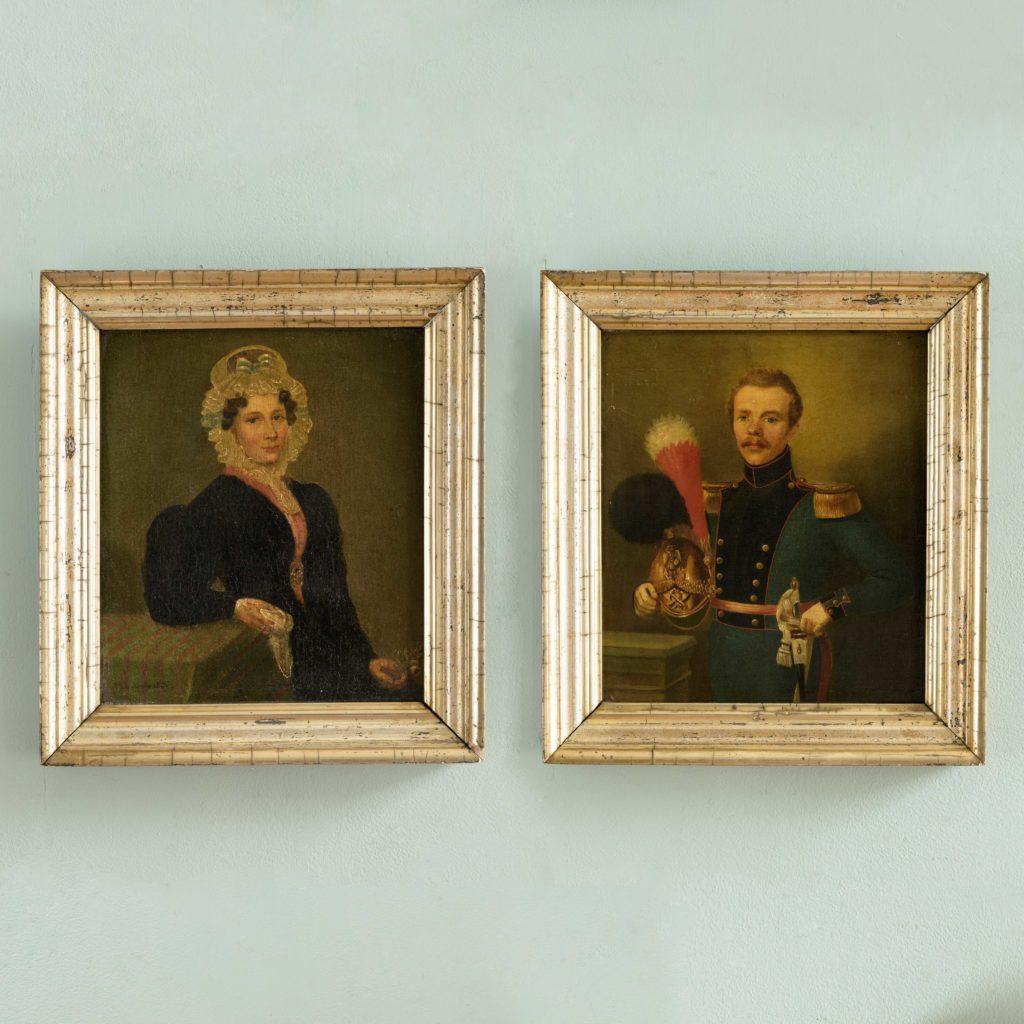 Pair of Belgian portraits,-0