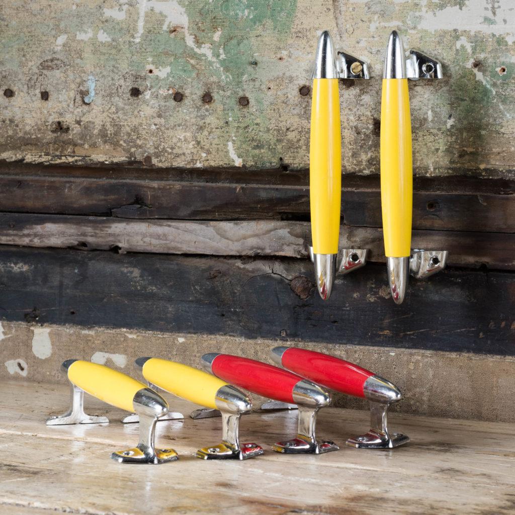 Pair of modern acrylic 'retro' cupboard handles,-103876