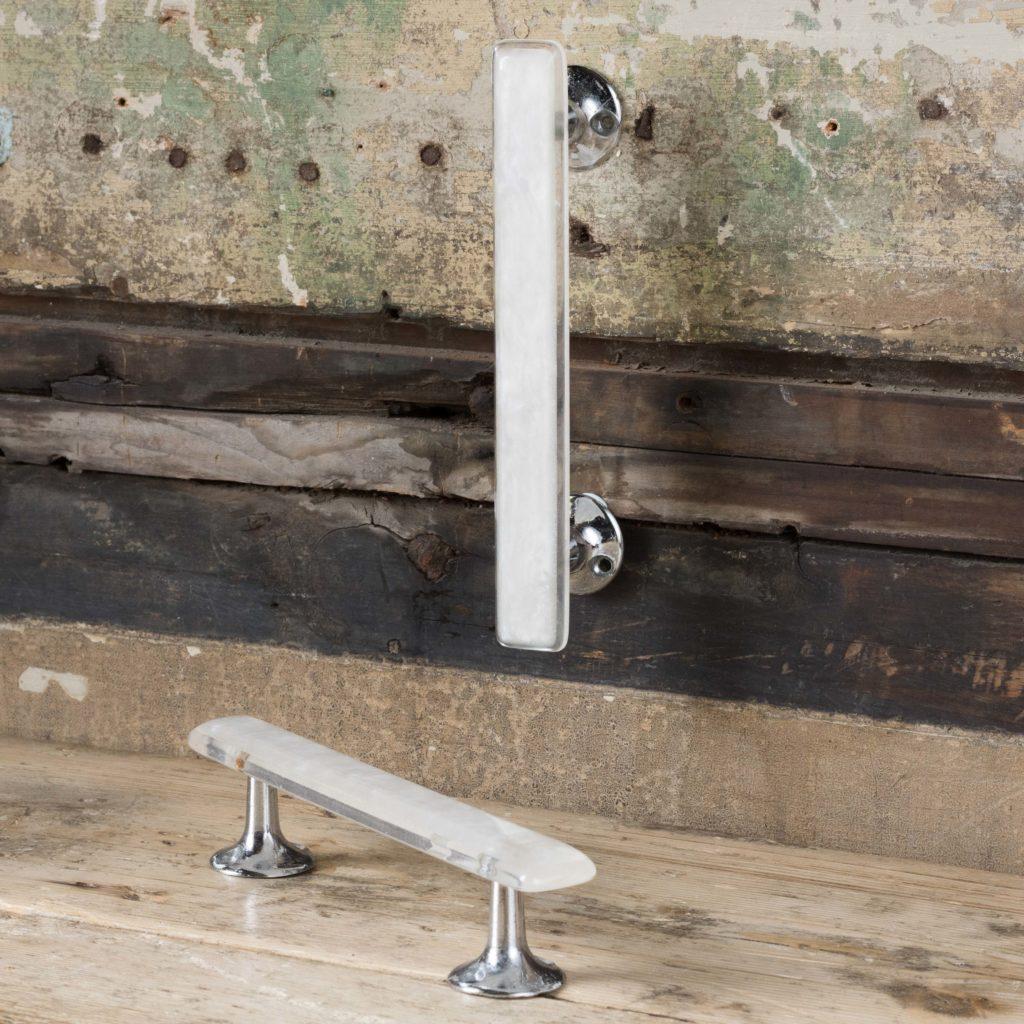 Pair of modern acrylic 'retro' cupboard handles,-0