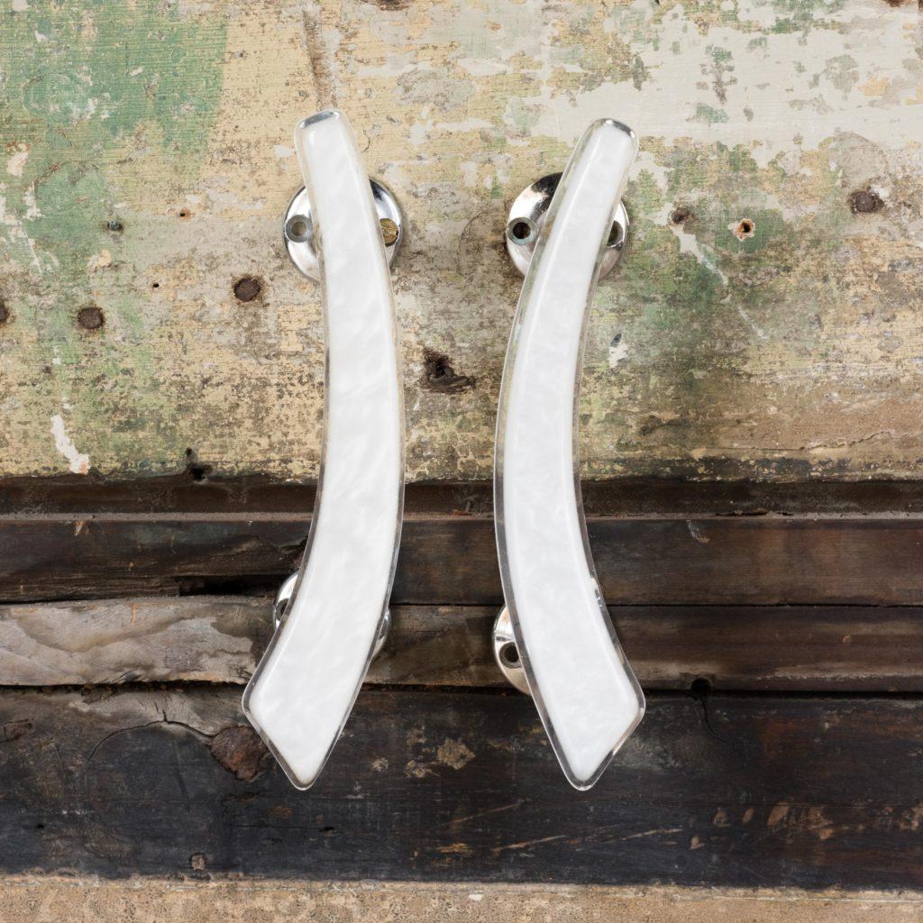 Pair of modern acrylic 'retro' cupboard handles,-103896