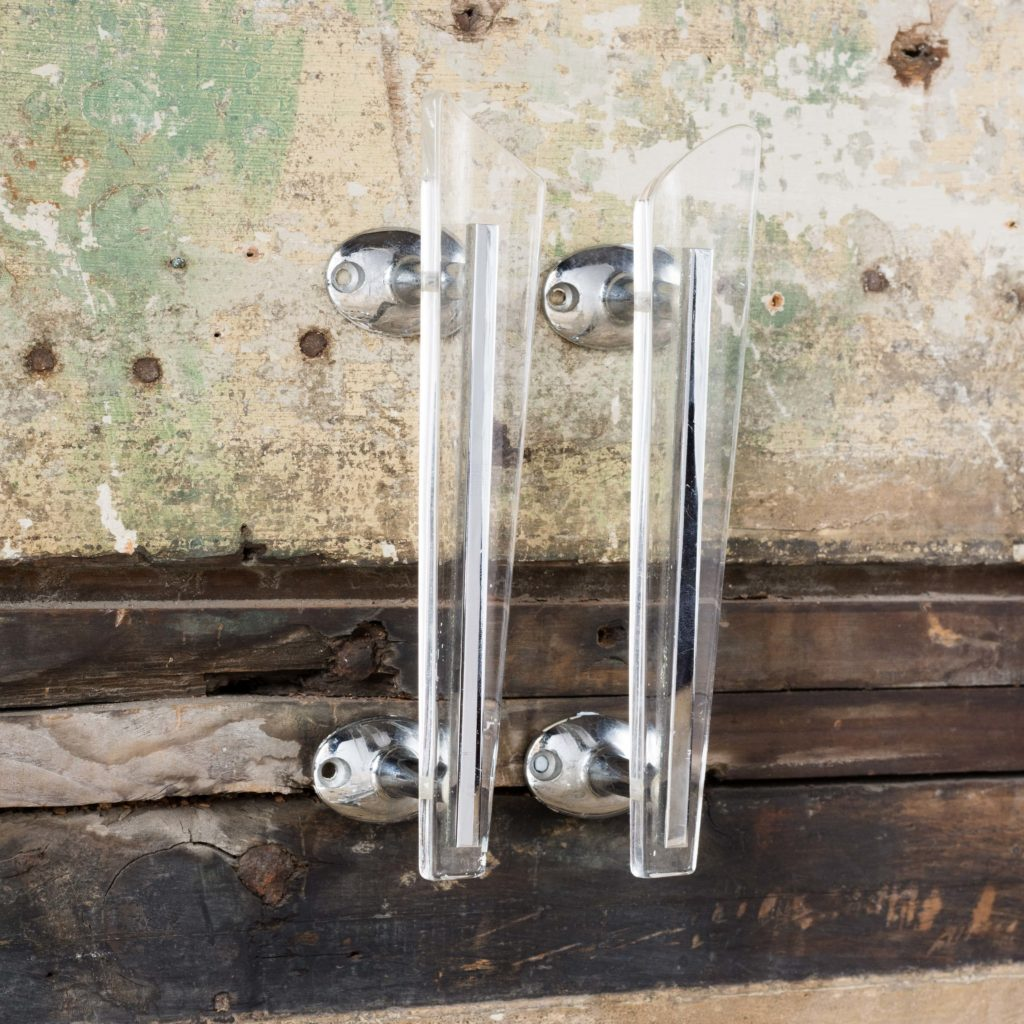Pair of modern acrylic 'retro' cupboard handles,-103904