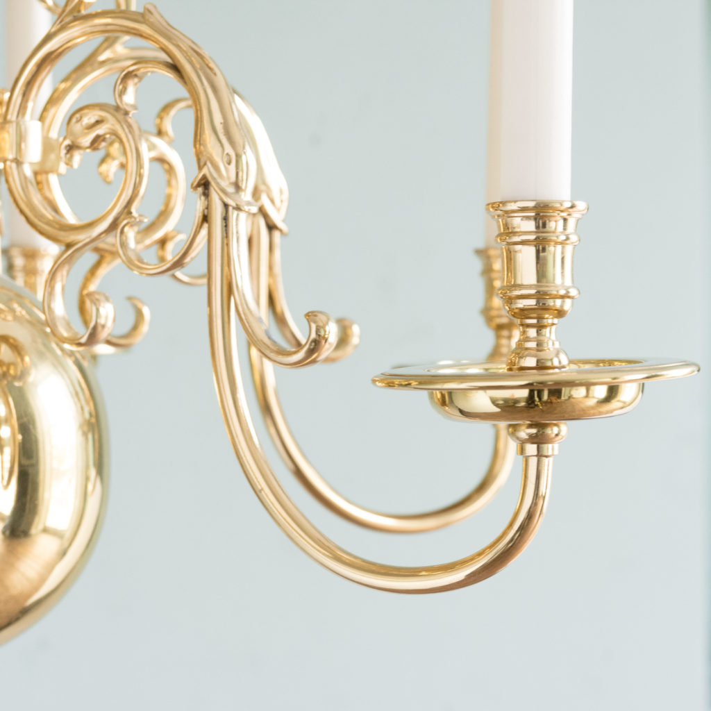 Two brass Flemish style chandeliers,-103927