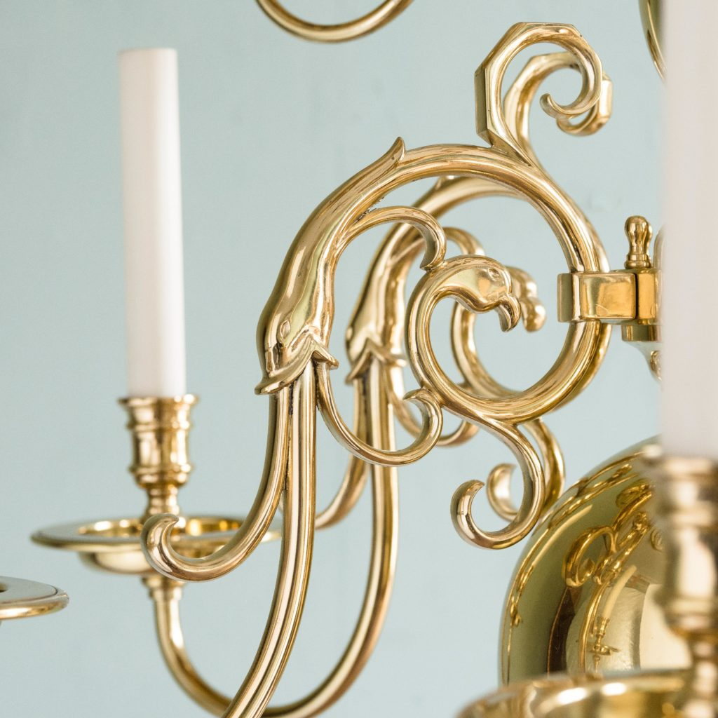 Two brass Flemish style chandeliers,-103924