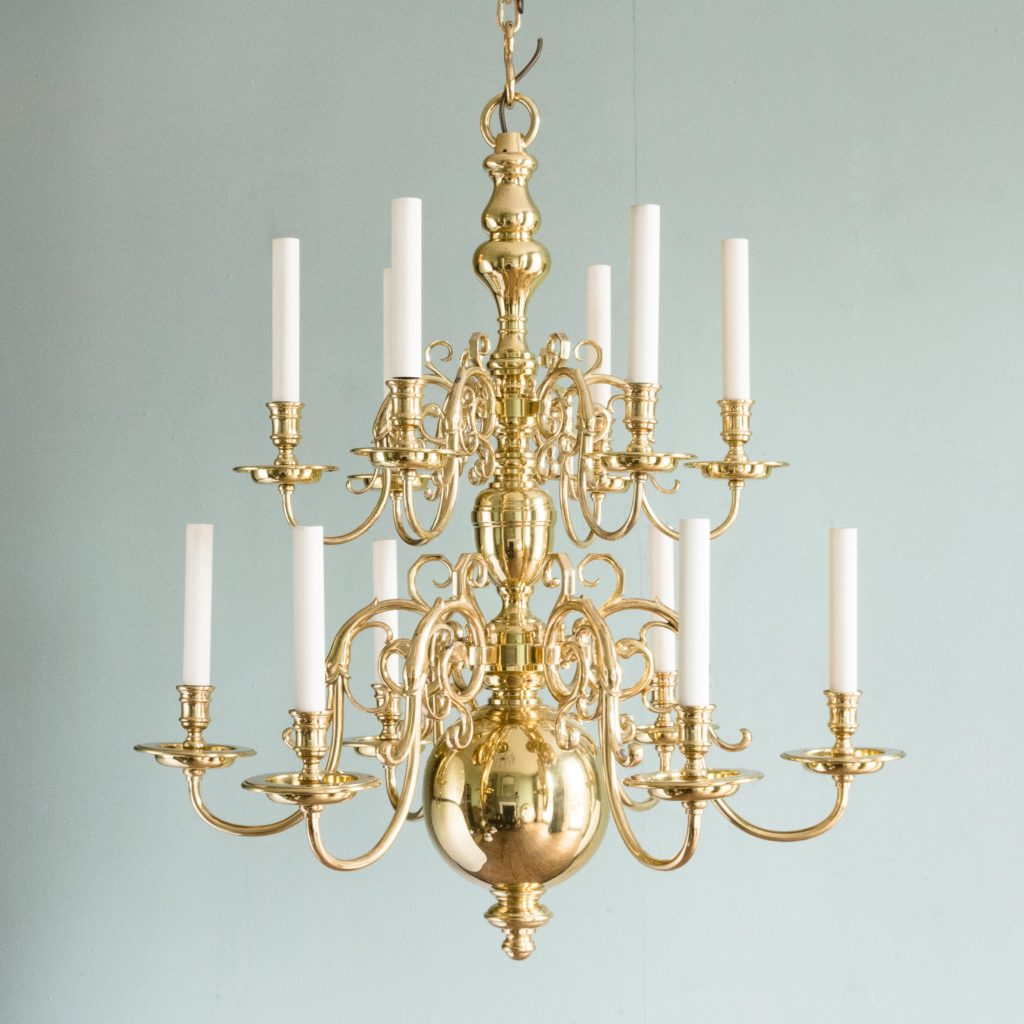 Two brass Flemish style chandeliers,-0
