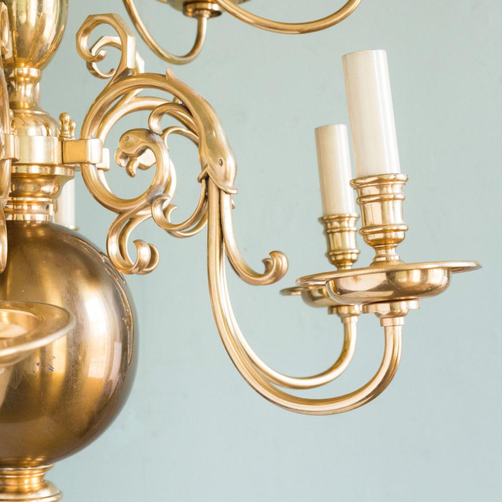 Brass Flemish style chandelier,-103938