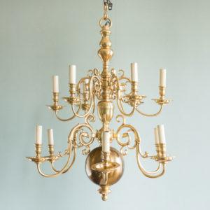 Brass Flemish style chandelier,-0