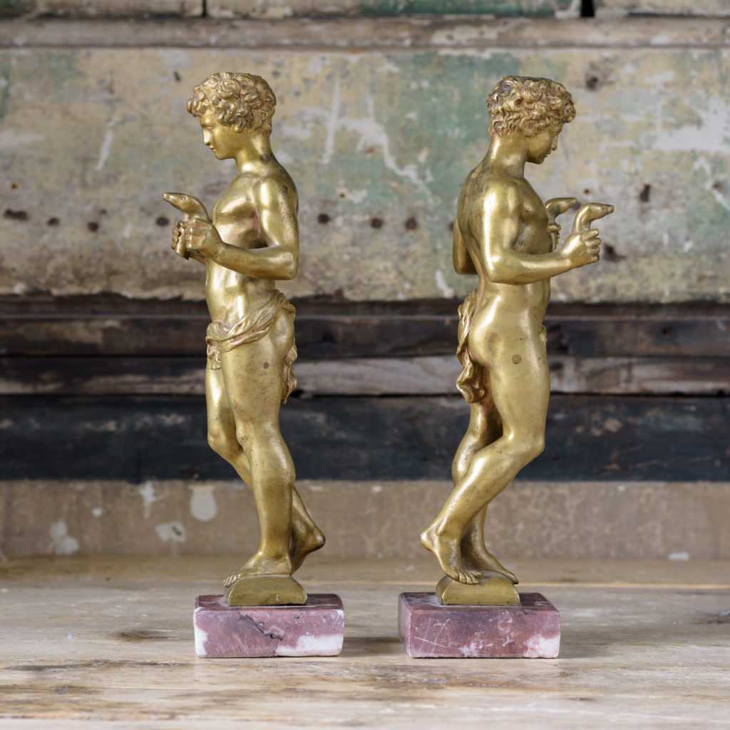 Pair of French gilt-bronze statues of young Hercules,-104034