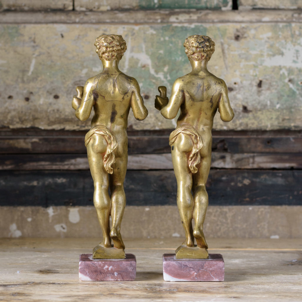 Pair of French gilt-bronze statues of young Hercules,-104030