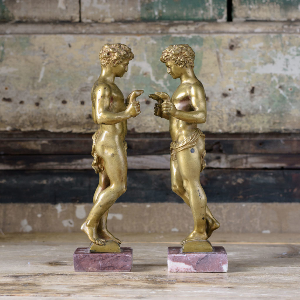 Pair of French gilt-bronze statues of young Hercules,-104026