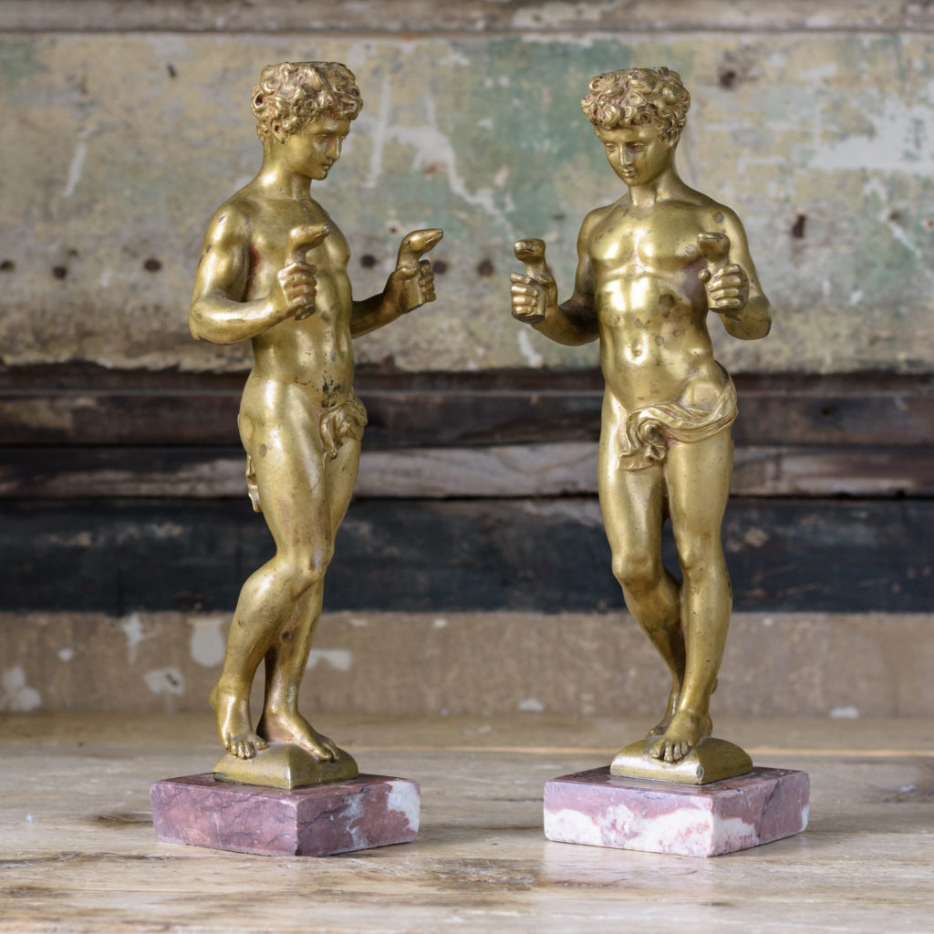 Pair of French gilt-bronze statues of young Hercules,-104024
