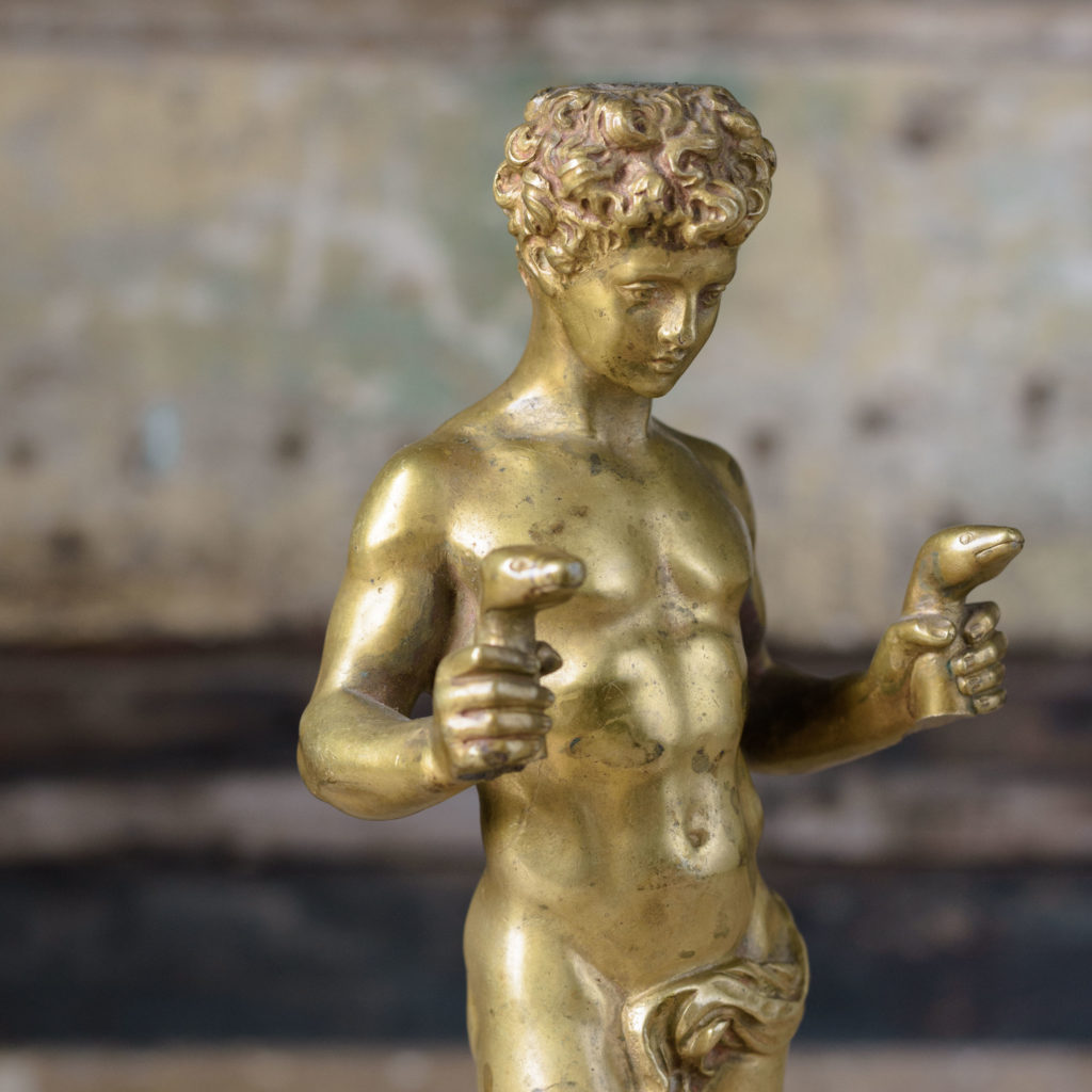 Pair of French gilt-bronze statues of young Hercules,-104032