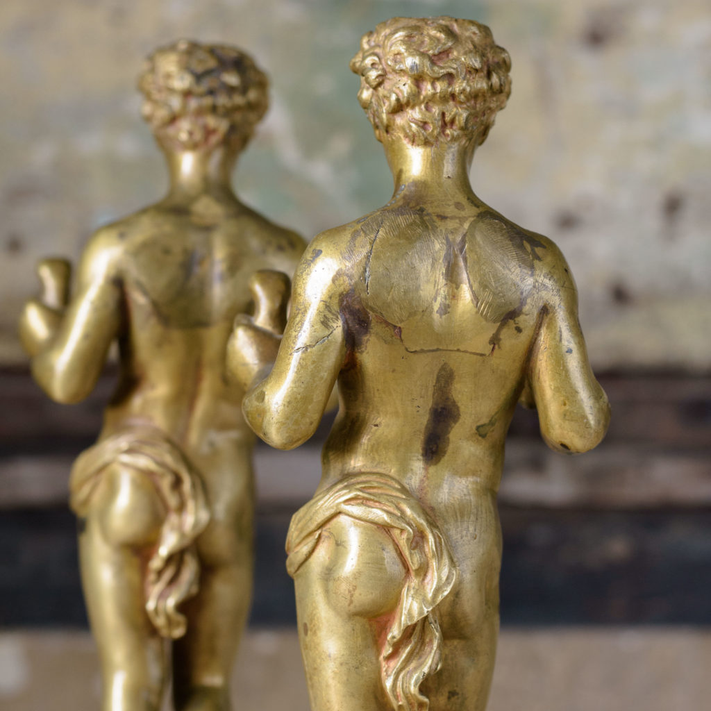 Pair of French gilt-bronze statues of young Hercules,-104031