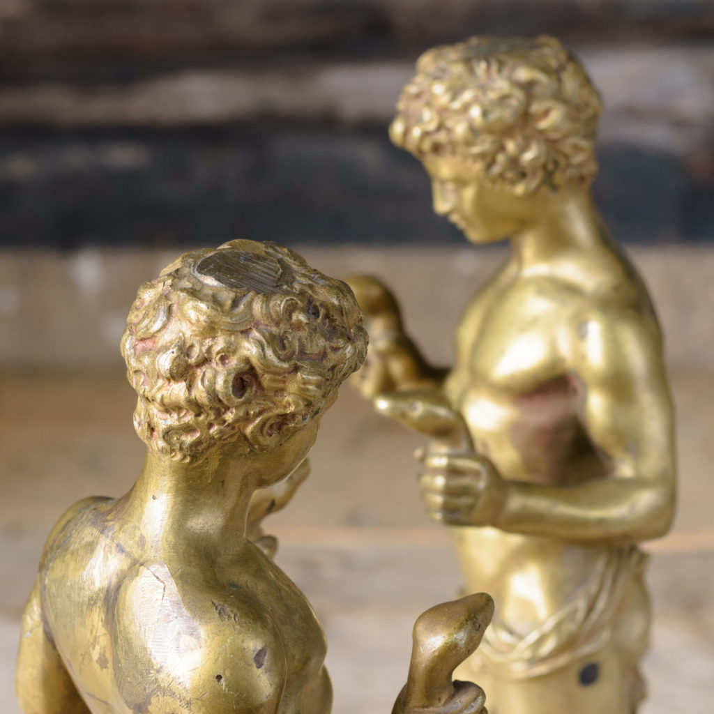 Pair of French gilt-bronze statues of young Hercules,-104025