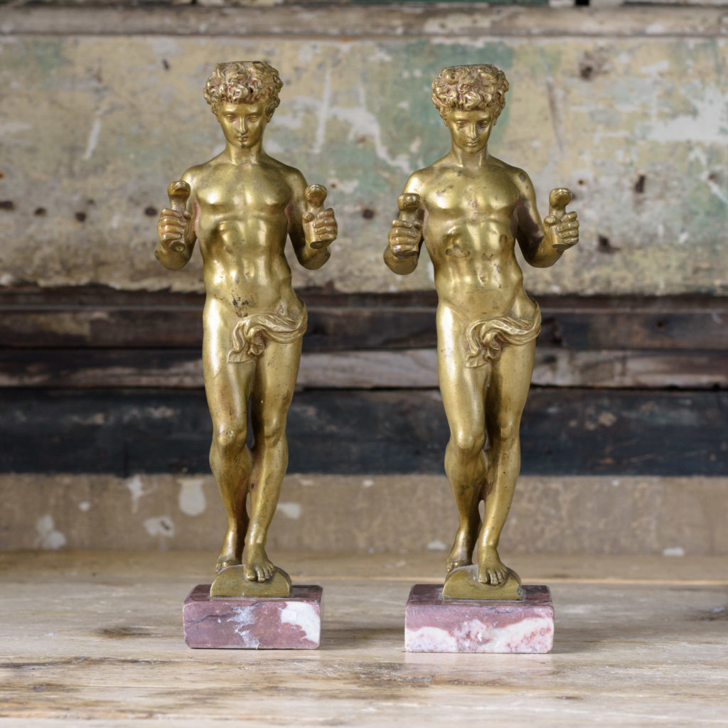 Pair of French gilt-bronze statues of young Hercules,-0