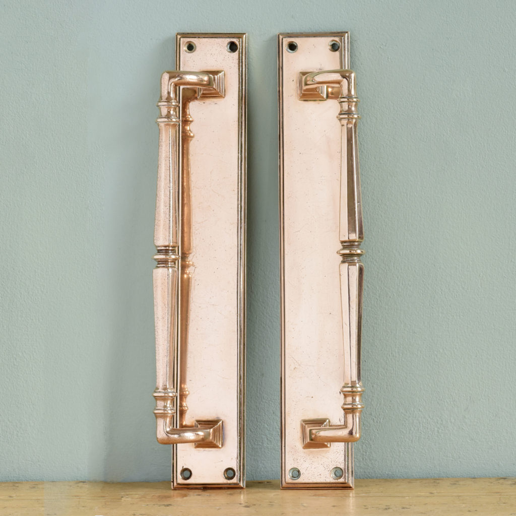 Pair of Edwardian bronze door pulls,-0