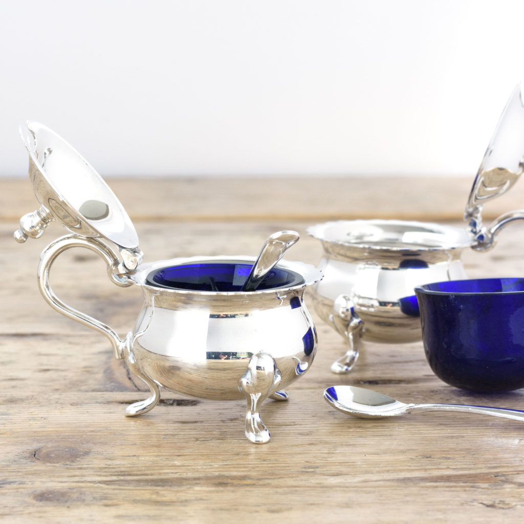 Pair of Georgian style silver plated mustard pots,-105119