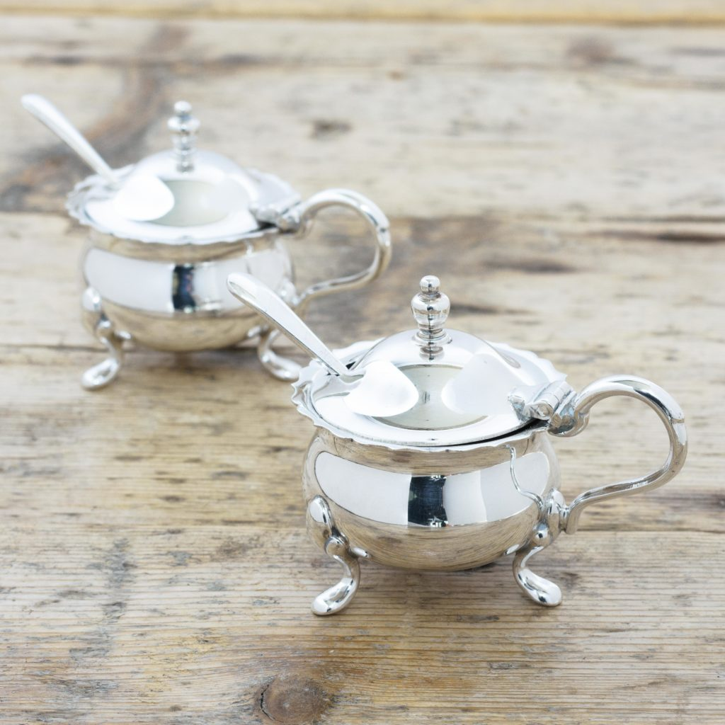 Pair of Georgian style silver plated mustard pots,-105117