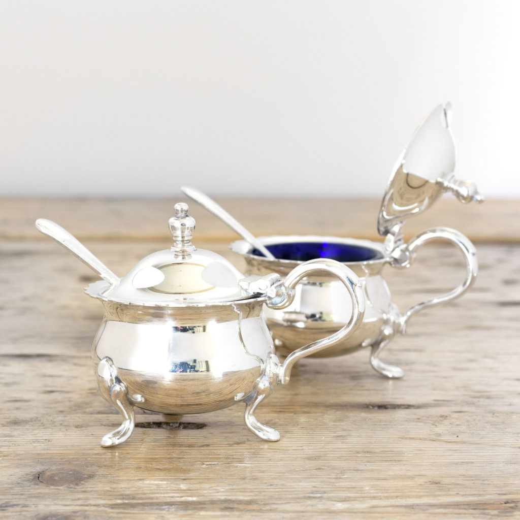 Pair of Georgian style silver plated mustard pots,-0