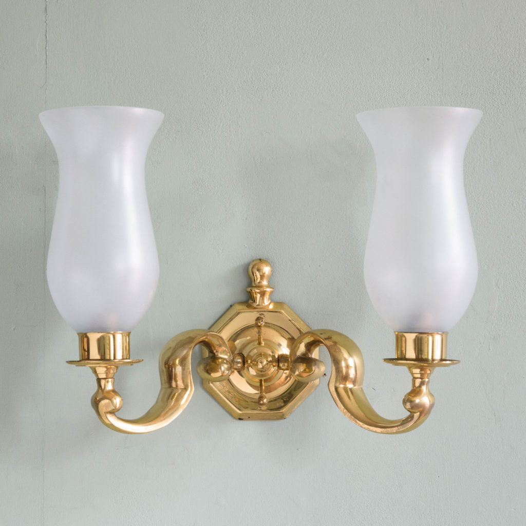 Scrolled brass wall lights,-105128