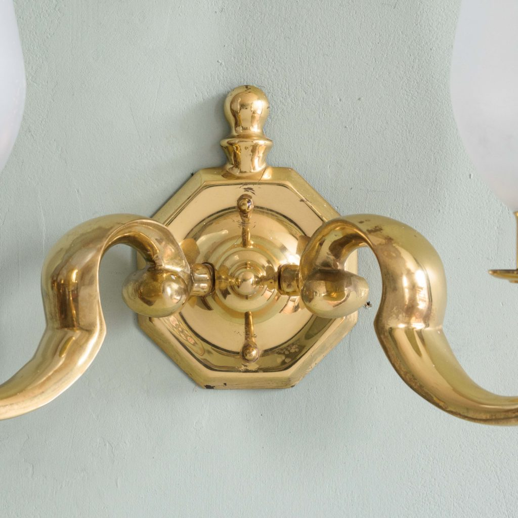 Scrolled brass wall lights,-105129