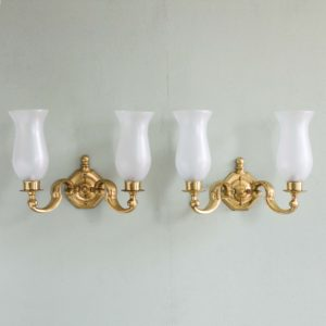 Scrolled brass wall lights,-0
