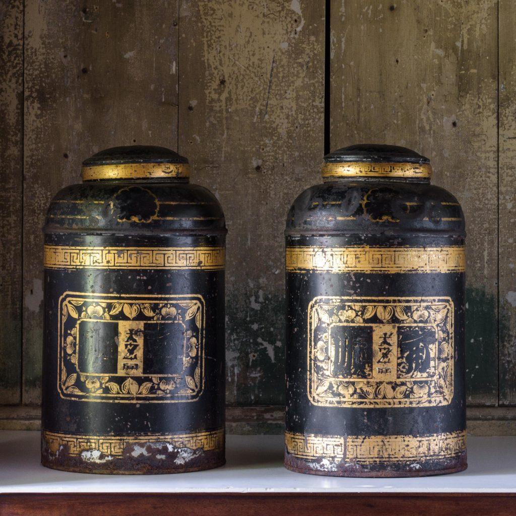 Late nineteenth century toleware tea canisters,-105105