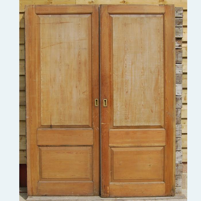 A pair of English mirror-glazed pine pocket doors,-106432