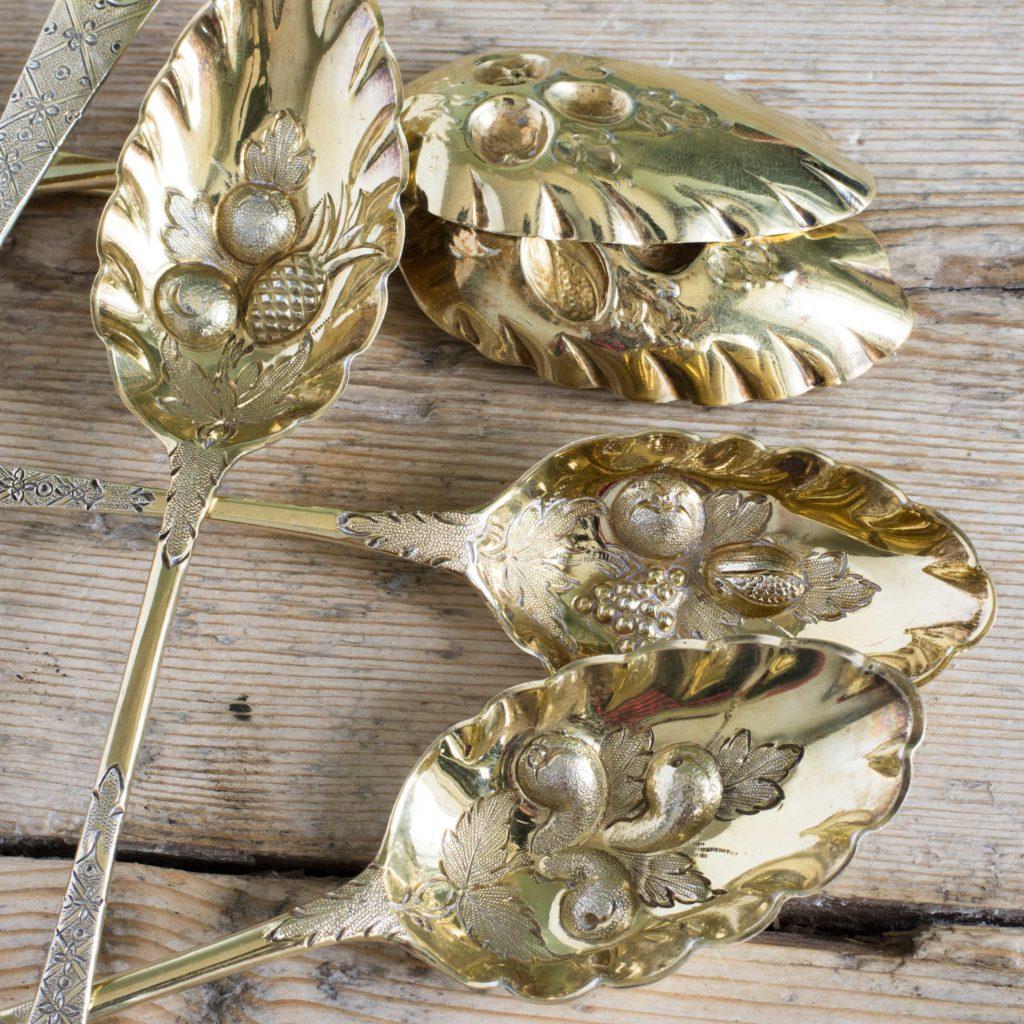 Set of six silver gilt fruit spoons,-106130