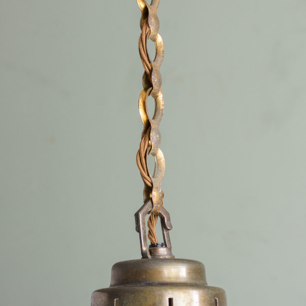Large 1930's opaline pendant lights,-105710