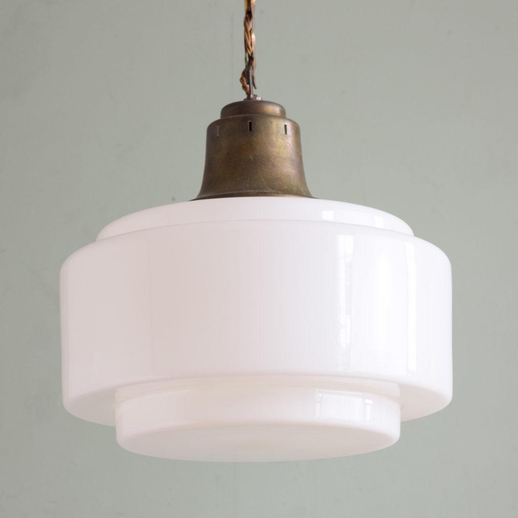 Large 1930's opaline pendant lights,-105709