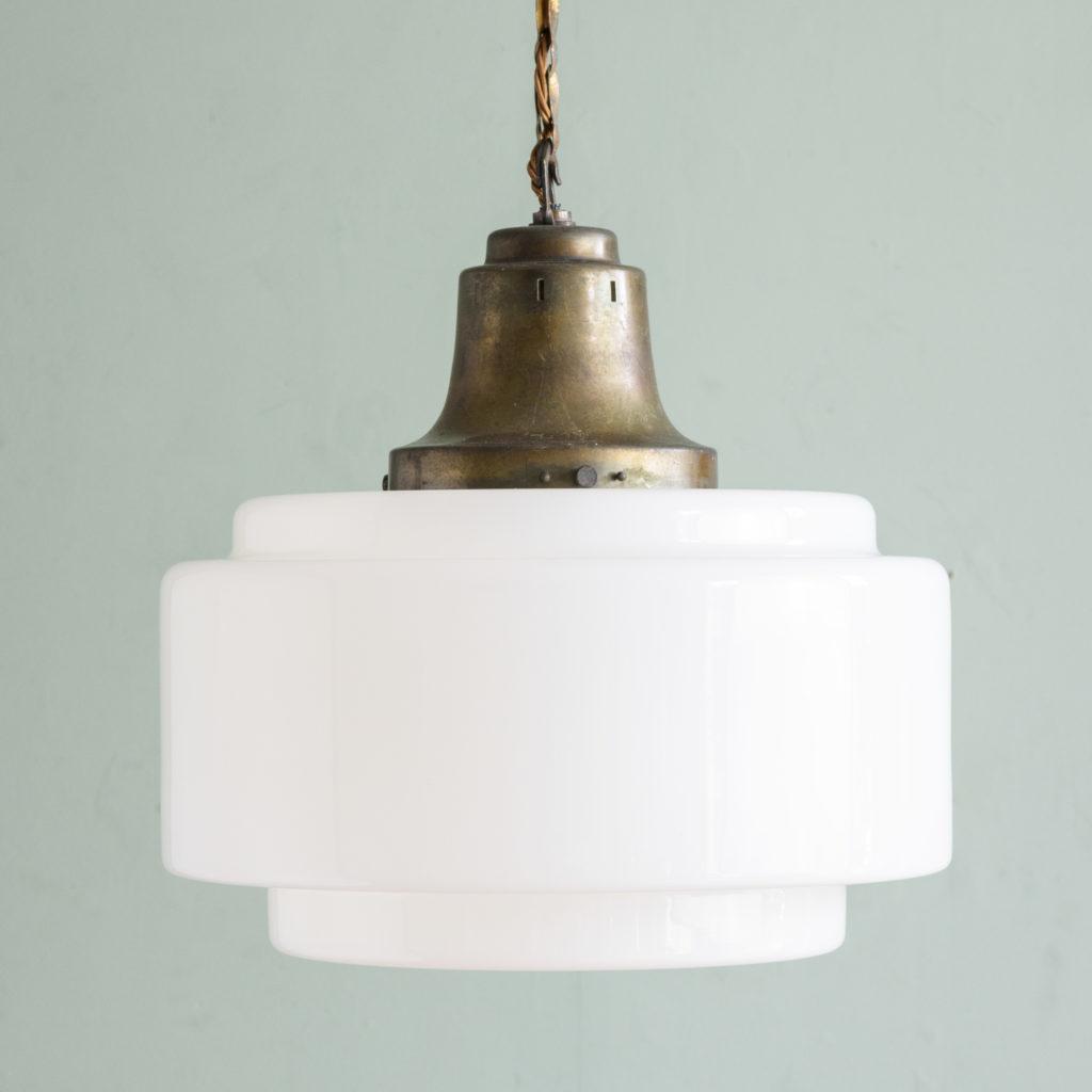 Large 1930's opaline pendant lights,-0