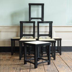Black lacquer stools,-0