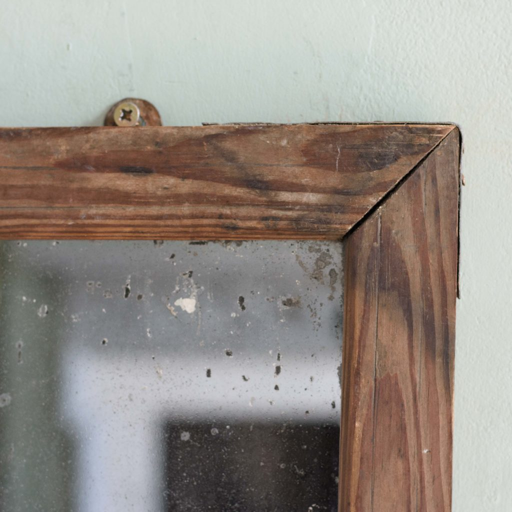 Small French pine framed mirror,-106077