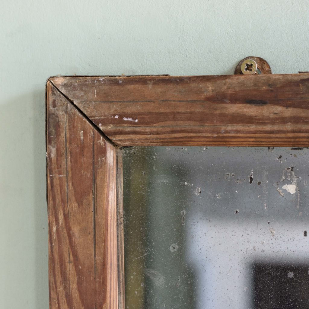 Small French pine framed mirror,-106073