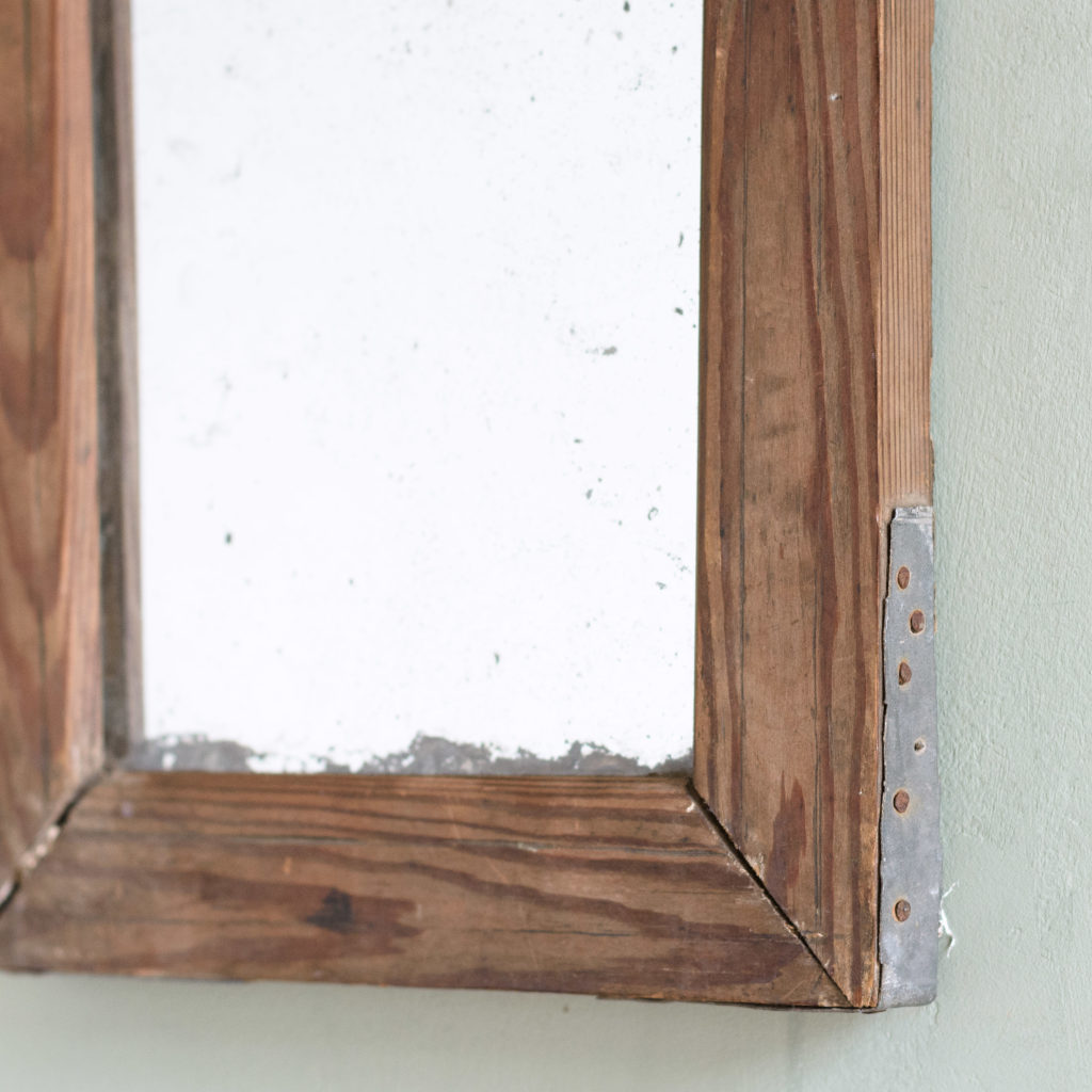Small French pine framed mirror,-106075