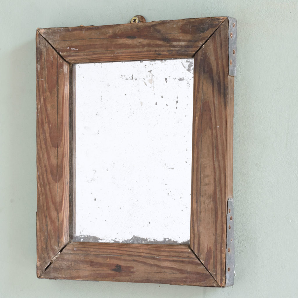Small French pine framed mirror,-106074
